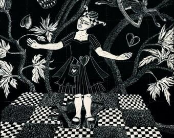 Original Artwork - Queen of Hearts - Scraperboard illustation