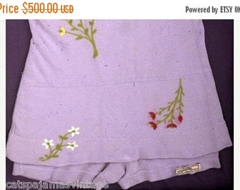 One Sale Thru Feb 14 Antique 1920s Swimsuit  Bathing Suit Lavender Zephyr Wool Embroidered Framed