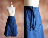 RESERVED vintage 1980's blue denim high waisted wrap skirt / size s - m