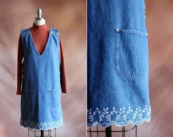 vintage 1990's denim pinafore jumper dress with embroidered scallop hem / size m - l