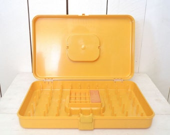 Sewing Thread Box Mustard Yellow 1960s Vintage Sewing Storage Supply Carrying Case