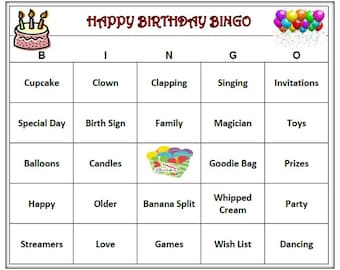 Kids Birthday Party Bingo Game 30 Cards Print And Play Childs