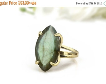 SUMMER SALE - Labradorite ring,long marquise ring,gemstone ring,prong ring,cocktail ring,gold ring,solid gold ring,double band ring