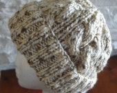 Wheat Colored Bulky Cable Hand-Knit Hat. Super soft, for men or women- Ready to be Shipped