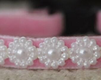 Pearl - pink velvet cat collar w/pearl ribbon - beautiful unique handmade breakaway soft cat collar