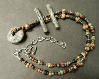 Contemporary tribal eclectic necklace... primitive collage....truly one of a kind..