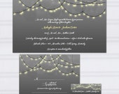 String Light Wedding Invitations, Gray and Yellow Wedding Invitation, Hanging Light Wedding Invites, Bokah SAMPLE