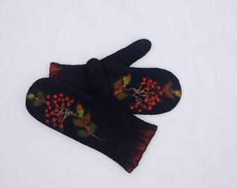 Felted Mittens Merino Wool Black Rowan