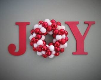 Christmas Wreath -Ornament WREATH in a WORD Christmas JOY Wall Decor Red and White