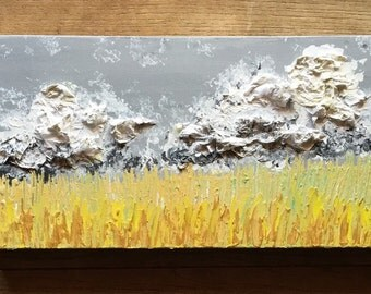 Made To Order-Choose Size-Wheat Fields-Stromy Skies-Golden Textured Art