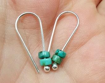 SILVER MODERN EARRINGS, Argentium silver earrings, Minimalist hoops, Turquoise Earrings, Simple hoops, Wire Earrings, turquoise jewelry