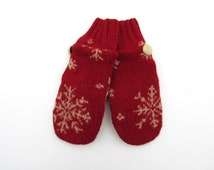 Felted Wool Mittens Fleece Lined Red and Beige Tan Snowflake Wool Mittens