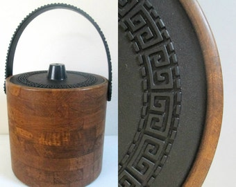 Greek Key Vinyl Ice Bucket Wood Grain Look Vintage Mid Century Bar