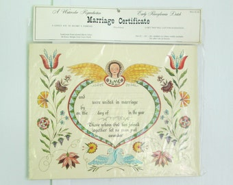 Amish Marriage Certificate Vintage 1960s Pennsylvania Dutch Folk Art 11 x 14 New Deadstock