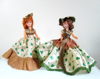 Irish Lassies Collapsible Eyes Dolls Set of 2 Vintage 1950s Hard Plastic Doll Feis Dancers