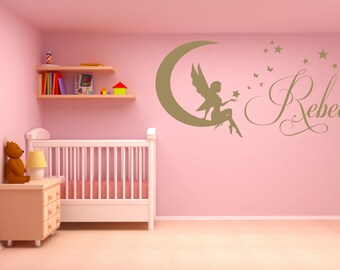 Personalised Name Matt Vinyl Wall Art Sticker Decal, Mural, with Fairy, Moon and Stars. Children's bedroom, Nursery, Playroom Decor