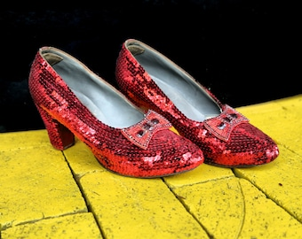 SALE * Hand Made from Vintage 1930's Shoes  Replica Ruby Slippers Dorothy Wizard of OZ