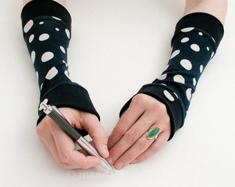 Arm Warmers, Blue With White Dots