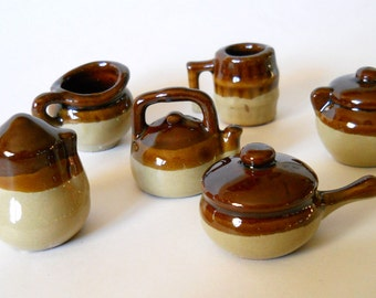 Vintage Toy Dishes - Childrens Kitchen Pottery Set - Hull Brown Drip Style Miniatures - 6 Stoneware pieces