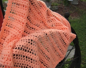 Peach Double Cluster Stitch Afghan