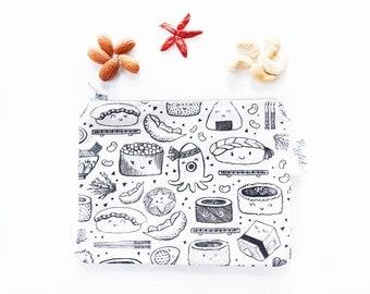Zippered Snack Bag with Food-Safe Nylon Lining - Sushi