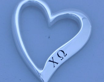 Chi Omega Sterling Silver Heart Shaped Pendent
