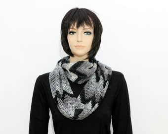 Black gray Infinity Scarf,  Eternity Scarf, Crocheted Scarf