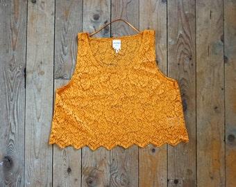 V i n t a g e Mustard Lace size Medium