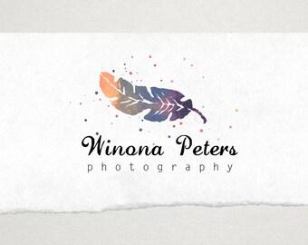 Premade Logo // Logo Design // Business Logo //  Photography Logo // Watercolor Feather Logo