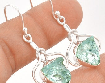 """Pair of Aquamarine Earrings. Solid Sterling Silver. 1 1/2"""" LONG. All natural."""