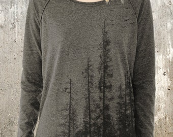 Pine Tree Forest - Women's Pullover Sweater - Alternative Apparel Locker Room Sweater-  Women's Small - XL Available