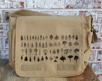 Cotton Canvas Messenger Bag - Tree Diagram - Screen Printed Vintage Unwashed Canvas Messenger Bag