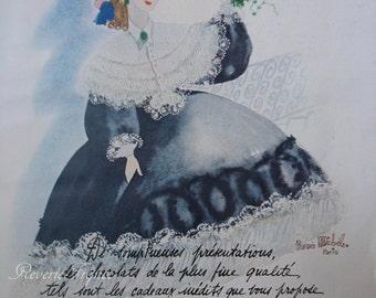 Original French Vintage Poster Ad  Marquise de Sevigne Chocolatier 1949 Chocolate Advertisement