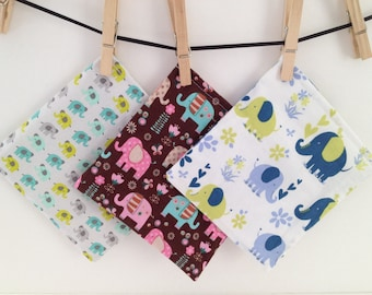 Reusable Snack Bags- Sandwich Size- Machine Washable-Velcro-Elephants!