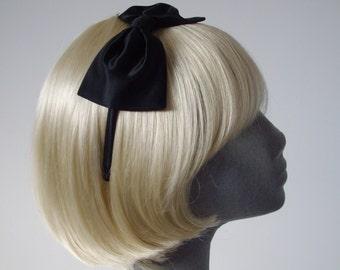 Black Headband, Black Bow Headband, Black Satin Bow Headband, Black Bow Aliceband, Black Hair Bow, Black Hair Accessories