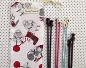 Long Knitting Needle Bag/Knitting Organizer/Zip Pouch, Knitting Sheep