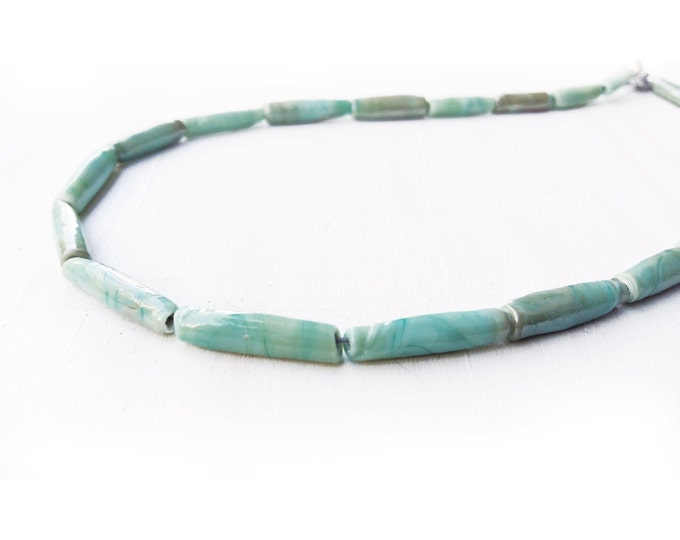 Mens Necklace, Copper green Lampwork Glass Beads, mens choker necklace