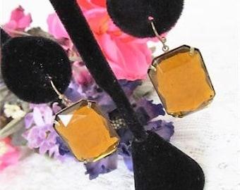 Beautiful Vintage Amber Color Dangle Earrings, Costume Jewelry Earrings