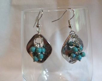 Turquoise Cluster Earrings on Silver Ear Wires