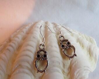 Various Silver Owl Earrings, Earrings, Owl, Dangle