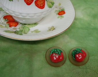 "Pair of Vintage Strawberry Buttons, 1"", Celluloid"