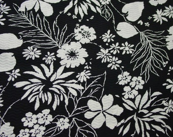 "Vintage Decorator Fabric Beautiful Textured Cotton, Black and White Print 4 Yards Available 44"" Wide"