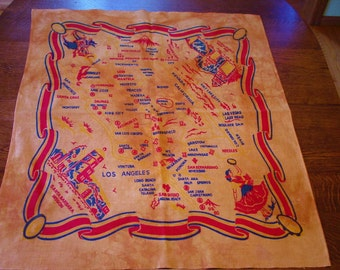 Early Vintage Souvenir Map Tablecloth, California, Hand Dyed
