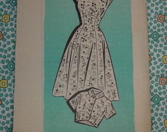 Vintage Pattern, Mail Order c.1950's Princess Dress and Bolero, Size 18  Uncut