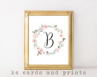 Letter B Monogram Print - Floral Monogram Art Printable - Wall Art - Wedding or Nursery