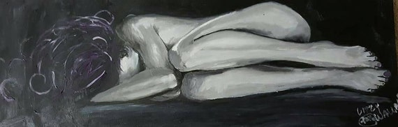 Black and white oil painting on canvas of a woman in the fetal position, with lil color Tasteful nude, vulnerable, naked #lizzywallaceart