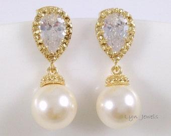 Gold Pearl Earrings //Wedding Bridesmaids Swarovski Pearl 10mm Cubic Zirconia Earrings // Choice of Pearl Colors: Pink, Cream, White, Black