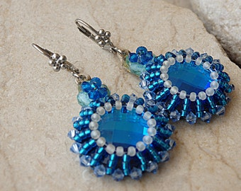 Blue swarovski earrings. Hand made jewelry. Something blue. Dark blue earrings. Beaded earrings. Denim blue earrings. Blue bridal earrings