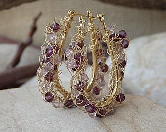 Handmade wire crochet earrings. Gold wire hoop earrings. Swarovski beads hoop earrings. Gold Knitted earrings. Gold Woven Wire Hoop Earrings