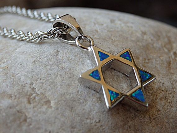 opal shield of david necklace star of david pendant necklace